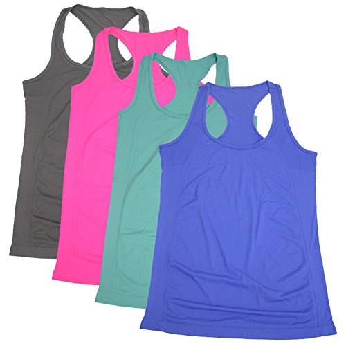 Semath Womens Lady Sleeveless Round-Neck Candy Vest Loose Tank Tops T-shirt, Large, 4 Pack/Light Blue/Gray/Royal Blue/Rosered