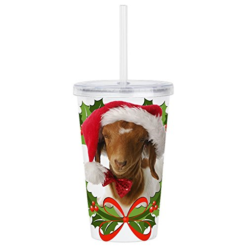 CafePress - Baby Boer Goat In Santa Hat Acrylic Double-Wall Tu - Insulated Straw Cup, 20oz Acrylic Double-Wall Tumbler