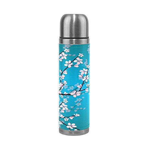 imobaby Jennifer Japanese Sakura Flowers Cherry Blossom Leak Proof Water Bottle Insulated Vacuum Stainless Steel Thermos by imobaby