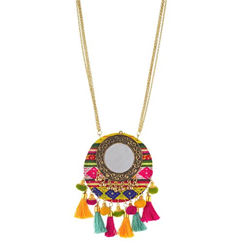 Zephyrr Fashion Round Pendant Necklace with Mirrors Tassels Pompoms for Girls and Women -