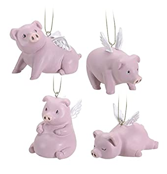 Ebros Gift Flying Pigs Pablo Set of 4 Hanging Ornaments Decorations Value Bundle