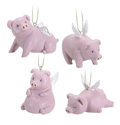 Ebros Gift Flying Pigs Pablo Set of 4 Hanging Ornaments Decorations Value Bundle
