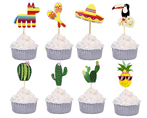 B-FUL Fiesta Cake Decorations Mexican Custom Cupcake Topper For Wedding,Baby Show,Kid Birthday Party,Set of 40 -