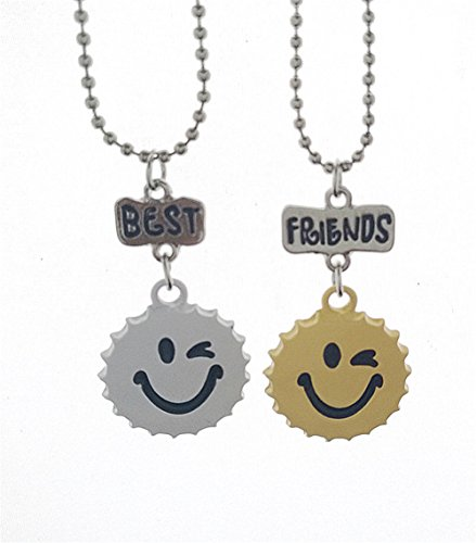 SL Cute Funny BFF Necklace for 2 3 Girl's Boy's Best Friends Buddys Quote Pendant Jewelry Set for Forever Friendship Gift for Kids,Teen,Children (Pendants Set Bottle Cap)