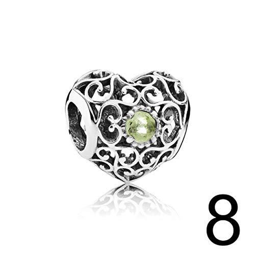 (Calvas 100% 925 Sterling Silver 791784PE August Signature Heart Birthstone Charm Charm Beaded Fashion Women's Original Gift - (Color: White))