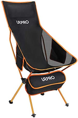URPRO Upgraded Outdoor Camping Chair Portable Lightweight Folding Camp Chair with Headrest Pocket High Back for Outdoor Backpacking Hiking Travel Picnic Fishing
