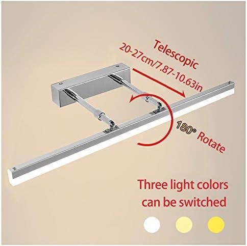CYANNAN Make-Up-Beleuchtung Badezimmer Spiegelleuchten LED Teleskop Länge LED Bilderleuchten Acryl-Front Spiegel Badezimmer-Wandleuchte 180 Grad Drehbar,Weiß,80cm