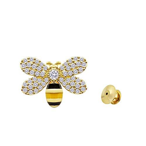 Austrian Crystal Ribbon - YOQUCOL Cute Honeybee Bee Enamel Lapel Clear Austrian Crystal Golden Brooch Pin