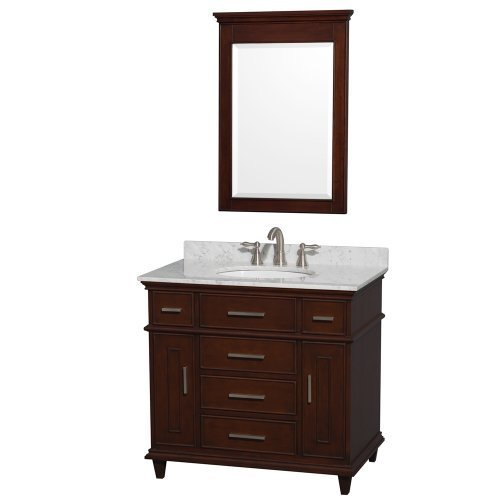 Berkeley Single Vanity Dark Chestnut 36 in. with White Carrera Marble Top with White Undermount Oval Sink and 24 in. Mirror by WYNDHAM COLLECTION by Wyndham Collection
