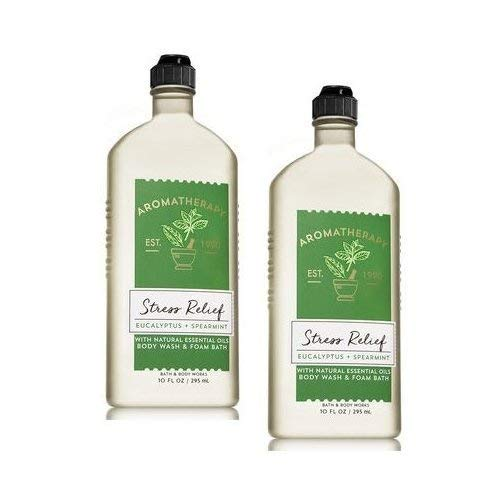 Bath & Body Works Gel Shower Gel - Bath and Body Works 2 Pack Aromatherapy Stress Relief Eucalyptus & Spearmint Shower Gel. 10 Oz.