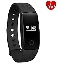 ID107 iTontek® Bluetooth Smart Wrist Watch Sport Bracelet w/ Heart Rate Monitor Fitness Tracker for Android iOS Smartphone (BLACK)