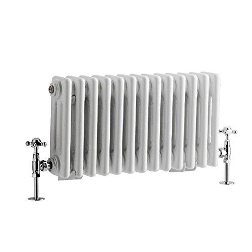 Hudson Reed - Regent - Traditional Sleek White Vertical 2-Column Cast-Iron Style Radiator - 59