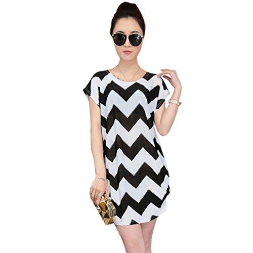 Franterd Women Mini Dress Short Sleeves Loose Blouse Print T Shirt skirts (White 1)