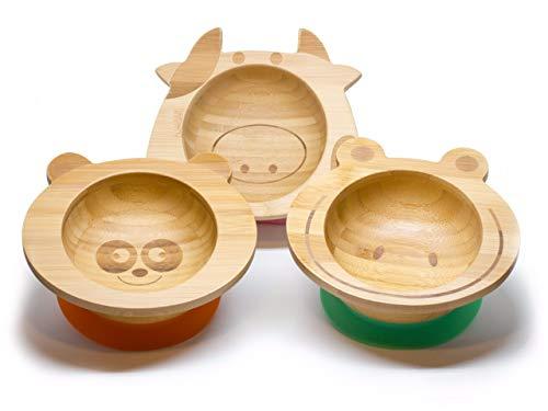 Eule Babyteller aus Bambus mit rutschfestem Saugnapf und passendem Baby-L/öffel Hochwertiges Babygeschirr Set in einer stylischen Geschenk Box **NEU** KLEINER FUCHS pr/äsentiert