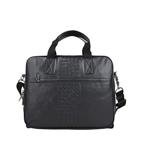 Bottega Veneta Men's Intrecciato Black Leather Luggage Travel Bag 468624 1000