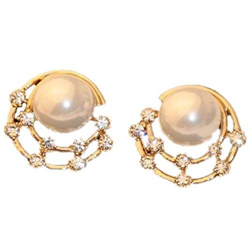 Easy Three Person Costumes (Ikevan 1 Pair Fashion Women Elegant Crystal Rhinestone Pearl Ear Stud Earrings Jewelry)