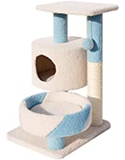 Cat Tree Cat Tree Condo House Furniture Cat Tower Cat Scratching Post Cat House Hammock Cat Home Climbing Perches Platform Cat Tree for Large Cat Soul hill (Color : Blue, Size : 50x40x75cm)