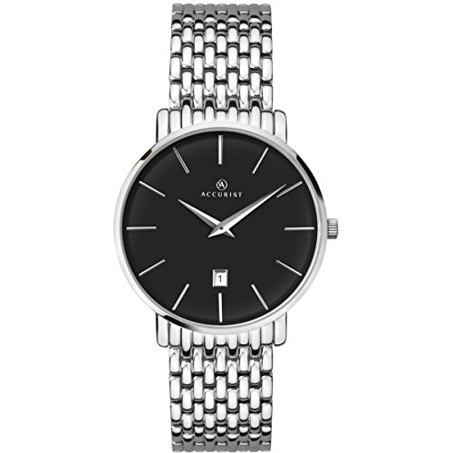 (Accurist Gents Analogue Watch With Black Dial And Silver Stainless Steel Bracelet 7158)