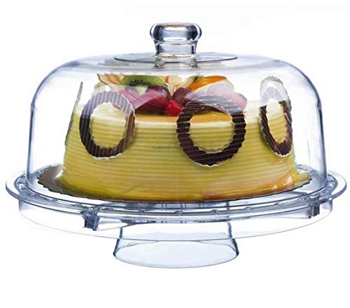 "Tebery 6-in-1 Acrylic Cake Stand Cake Plate With 12""Dome Multi-Function Serving Platter, Salad & Punch Bowl"
