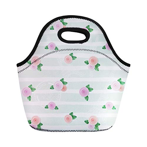 Semtomn Lunch Tote Bag Pink Floral Eiffel Tower Stamps and Roses on Stripped Reusable Neoprene Insulated Thermal Outdoor Picnic Lunchbox for Men Women