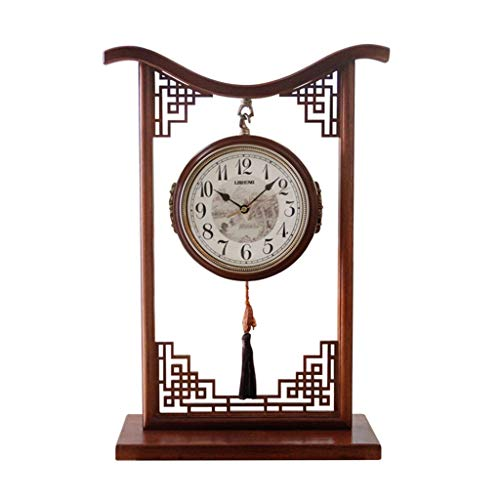 LCB Clock Living Room Chinese Style Solid Wood Clock Double-Sided Silent Clock Table Clock Quartz Clock (Color : Brown, Size : 381659CM)