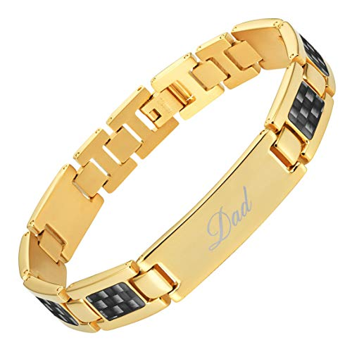 - Willis Judd Best DAD Ever Engraved Titanium Bracelet Black Carbon Fiber Resizable in Gift Box from Son Daughter Gold Tone