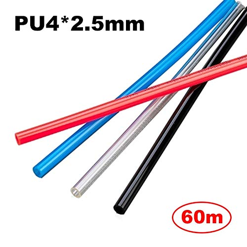Fevas 60m Pneumatic Hose PU Tube OD 4MM ID 2.5MM Plastic Flexible Pipe PU42.5 Polyurethane Pipe - (Color: ()