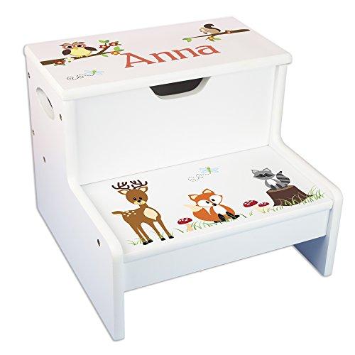 Personalized Woodland Critter Storage Step Stool