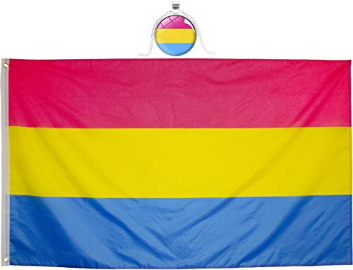 Eugenys Pansexual Flag 3 x 5 Ft - Free Pan Pide Flag Necklace Included - Bright Vivid Colors, Durable Brass Grommets and Double Stitched - UV Fade Resistant Large Pan Pride Banner for Indoor/Outdoor