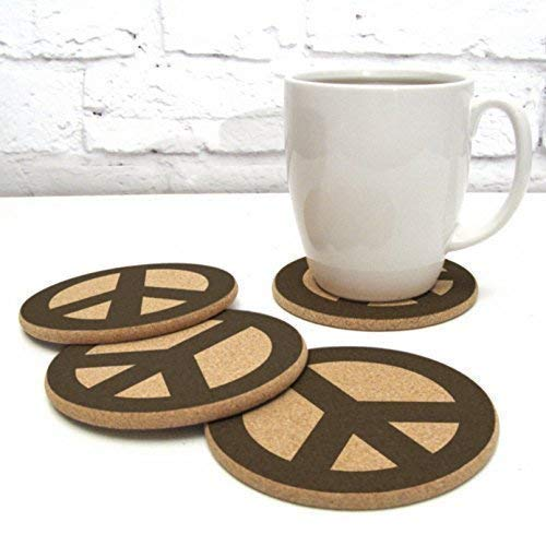 Peace Sign Design Cork Drink Coaster Gift Set of 4