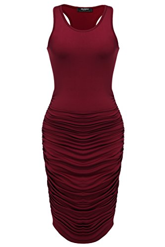 Zeagoo Women's Summer Sexy Sleeveless Sundress Fold Bodycon Tank Dress,Wine ()