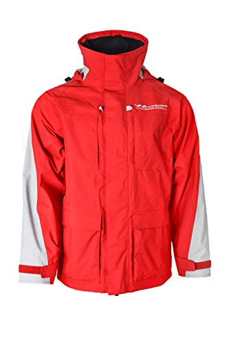 WindRider Pro Rain Jacket - Foul Weather Gear for Men - for Sailing and Fishing (Small, Red/Silver) ()