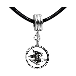 Chicforest Silver Plated Flying Mighty Eagle Photo Light Rose Crystal October Birthstone Flower dangle Charm Beads Fits Pandora Bracelet