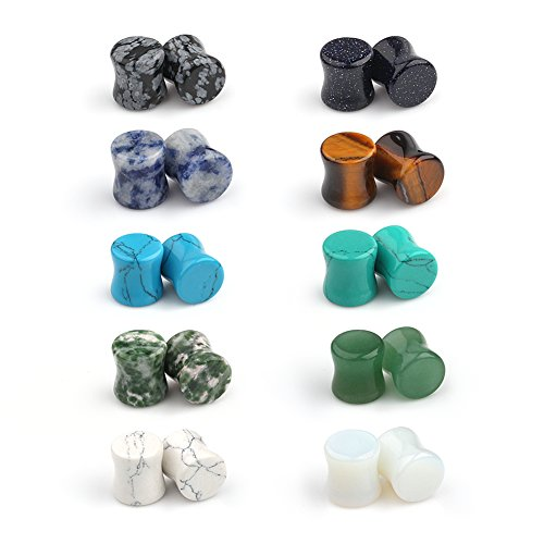 (Ruifan 10 Pairs Set Natural Mixed Stone Saddle Ear Plugs Stretcher Expander Tunnels Gauges Piercing Jewelry 2g(6mm))