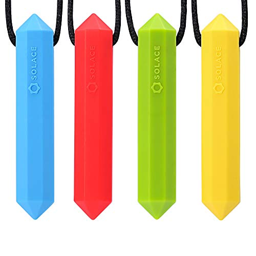 Chewelry Sensory Chew Necklace for Boys & Girls - Chewlery Necklaces for Kids with Autism ADHD - Chewy Oral Chewing Toys - Crystal 4-Pack by Solace