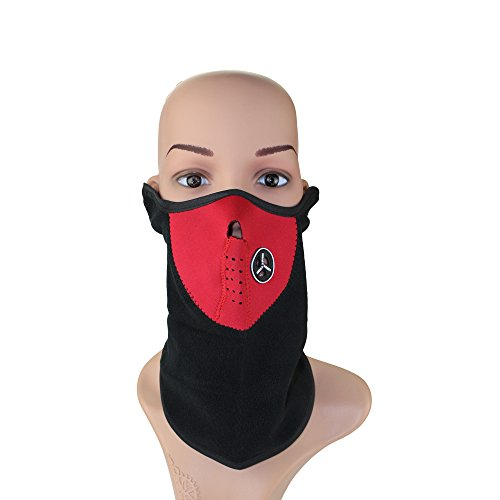 ezyoutdoor Neoprene Bicycle Motorcycle Snowboard Ski Cycling Half Face Mask with a Cutout for Nose Breathing Neck Warmer for Men and Women (Red)