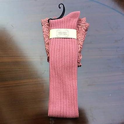FUWUX Home Medias de Encaje de algodón de Tubo Alto para Mujer a Rayas Sobre Las