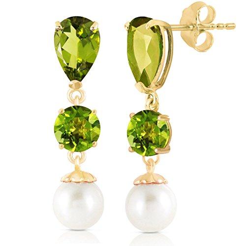 10.5 CTW 14K Solid Gold Chandelier Earrings Peridot pearl