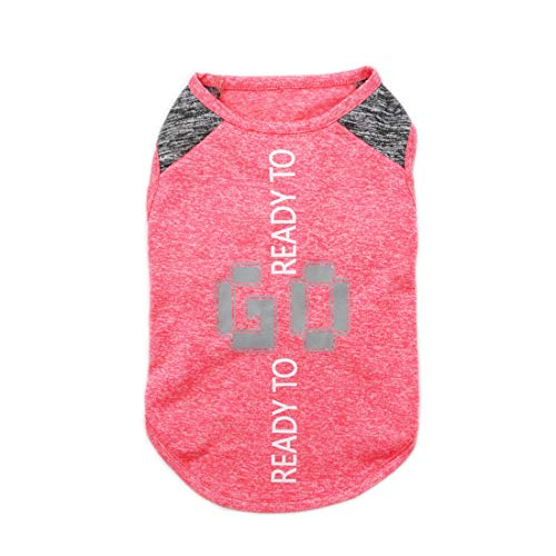(kyeese Dog Shirt Sports Soft Lightweight Dog T-Shirt with Reflective Printing Tank Top Quick Dry Sleeveless Vest Cat Shirt)