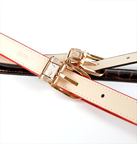 """Anthoni Crown Leather Ladies Belt 0,8"""" Width Gold Color with Gold Metallic Buckle 34""""-44""""/43tg"""