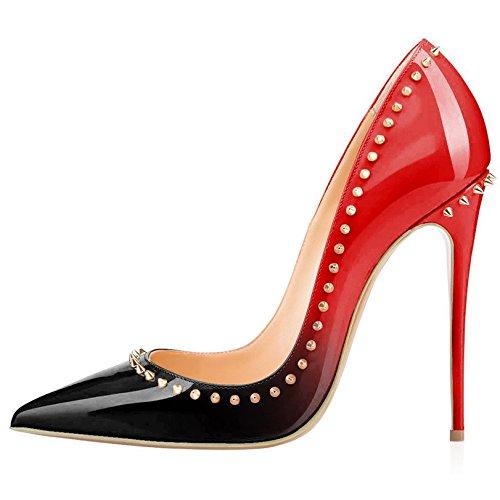 Arc-en-Ciel los zapatos de las mujeres de las bombas de tacón alto en punta del dedo del pie gradiente estilete del cuero de patente Rojo Negro