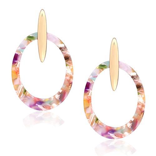 (boderier Acrylic Earrings for Women Bohemian Bar Stud Oval Acrylic Hoop Earrings Fashion Jewelry (Floral))