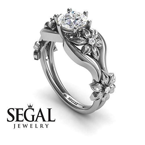 Unique Engagement Ring Diamond ring 14K White Gold Floral Flowers Antique Ring White diamond – Lauren