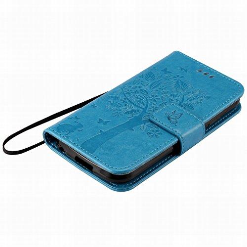 Custodia LG K3 / K100 / LS450 Cover Case, Ougger Alberi Gatto Printing Portafoglio PU Pelle Magnetico Stand Morbido Silicone Flip Bumper Protettivo Gomma Shell Borsa Custodie con Slot per Schede (Azzu