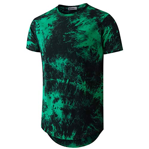 Mens Hip Hop Tie-Dyed Hipster Curve Hem T Shirt (XX-Large, Green)
