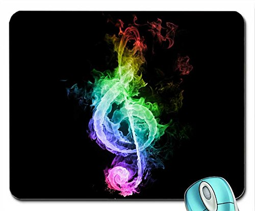 (Entertainment abstract flames music dark rainbows treble clef gclef black background 1280x1024 wallpaper mouse pad computer mousepad)