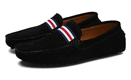 Sunrolan Mens Multi-color Causal Slip-on Conduite Mocassins Mocassin Robe Chaussures Xr5132 Nouvelle Saison Noir