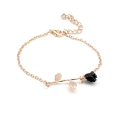 (Dwcly Elegant Charm Black Rose Flower Bracelet Pretty Gold Rose Gold Silver Adjustable Link Chain Bracelet Jewelry for Her (Rose Gold))