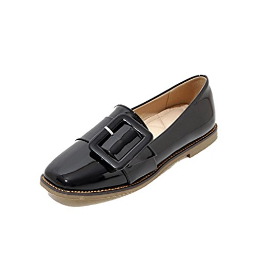 Women's Heels Closed WeenFashion Low Patent On Black Leather Pumps Shoes Pull Toe dwwq5n8r