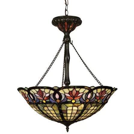 (Quoizel TF1438VB Hyacinth Tiffany Bowl Pendant Lighting, 3-Light, 300 Watts, Vintage Bronze (27